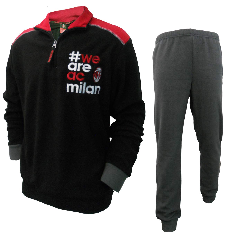 AC Milan Pigiama Ragazzo Lungo Mezza Zip in Pile Prodotto Ufficiale Art MI15063