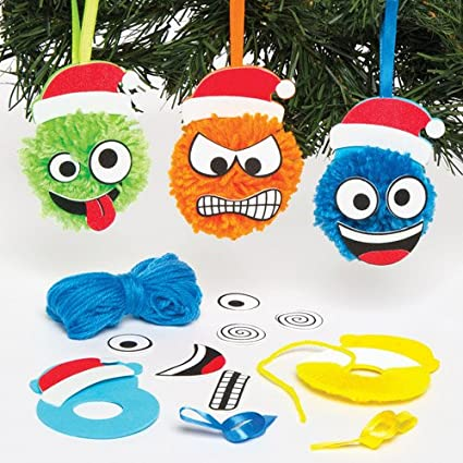 baker ross christmas funny face pom pom hanging decoration kits for children to design and display