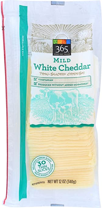 365 Everyday Value, Milk White Cheddar Thin Sliced Cheese, 12 oz
