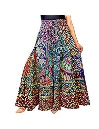 Silver Organisation Cotton Around Skirt Dress Indian Ethnic Rapron Hippie Boho Gypsy