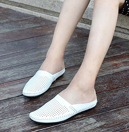 YiLianDa Sandalias de Cuero Acolchadas Para Hombre Calzado Deportivo Blanco