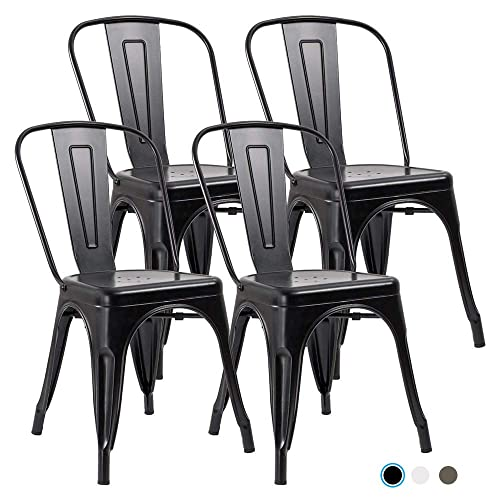 Metal Indoor-Outdoor Dining Chairs Stackable Chic Industrial Side Chairs Design Stools with Back Use for Kitchen Bistro Cafe Set of 4 Black
