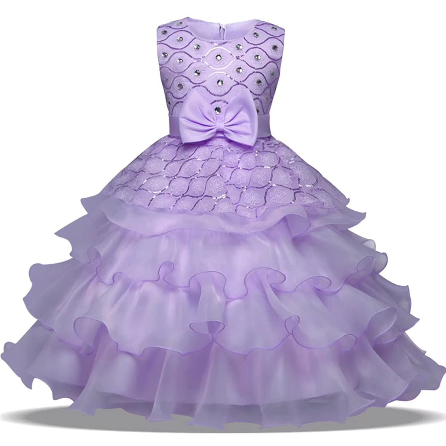 Amazon.com: Oukaiyi Girl Dress Kids Ruffles Lace Party Wedding ...