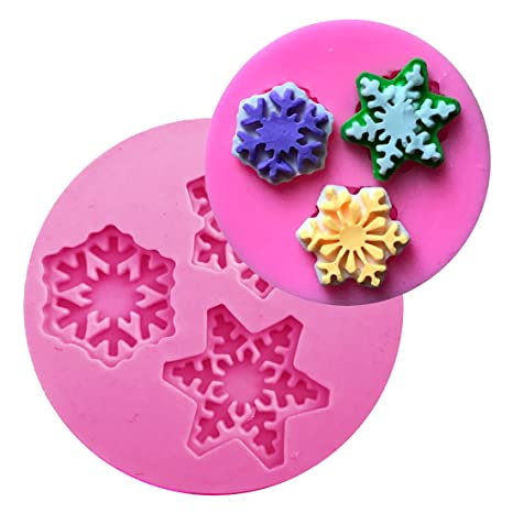 Snowflakes Sugar Paste Silicone Fondant Cake Mold Christmas Mould UK