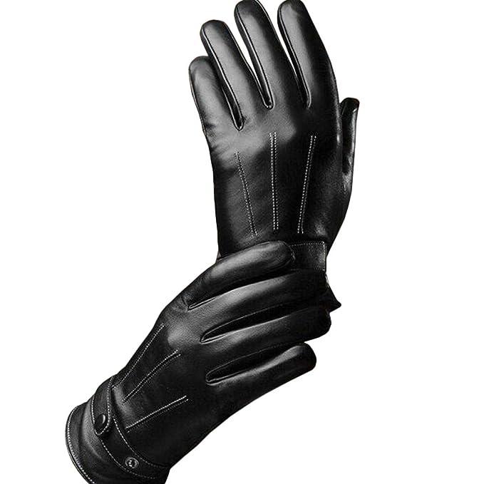 prezzo onesto bello e affascinante nuovo concetto TOPmountain Guanti invernali in pelle per uomo Touch screen Ciclismo di  guida all'aperto Guanti neri Regali di guanti spessi