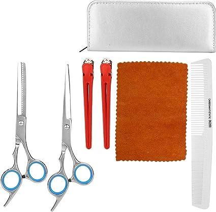 Juego de tijeras para cortar el cabello de 5 piezas, kit de tijeras de peluquería, tijeras para adelgazar, peine para el cabello, estuche de tijeras de cuero, peluquero profesional para salón(Plata): Amazon.es: