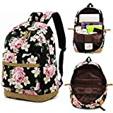 Laptop School Backpack Girls Bookbags Schoolbag for Teens Travel Daypack (A001- Floral Black)