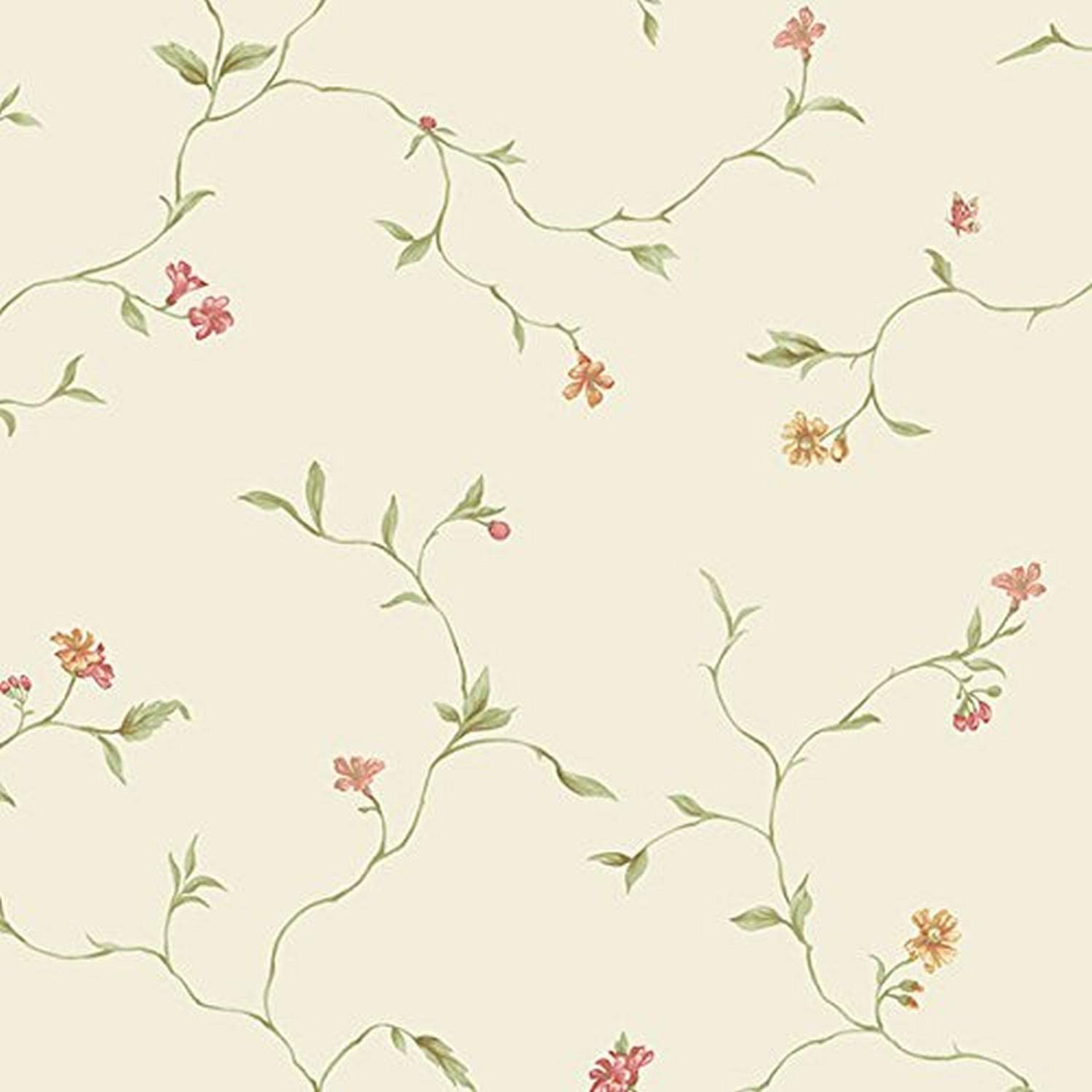 Norwall Nwke29902 Chesapeake Floral Trail Textured Wallpaper Red