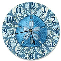 Stupell Home Décor Blue Coastal Sand Dollar Decorative Vanity Wall Clock, 12 x 0.4 x 12, Proudly Made in USA