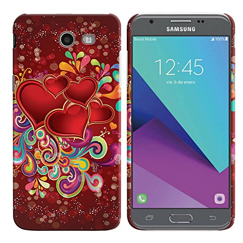 FINCIBO Case Compatible with Samsung Galaxy J3 Emerge J327 2017, Back Cover Hard Plastic Protector Case Stylish Design for Galaxy J3 Emerge (NOT FIT J3 2016, J3 PRO) - Red Hearts with Colorful Swirls