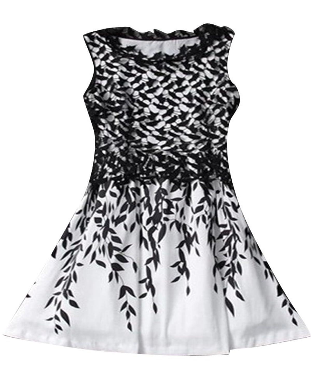 Moollyfox Damen Gemütlich Ärmelloses Kleid Spitzes Nähende Elegantes Kleider Sommerkleider Ballkleider Partykleid