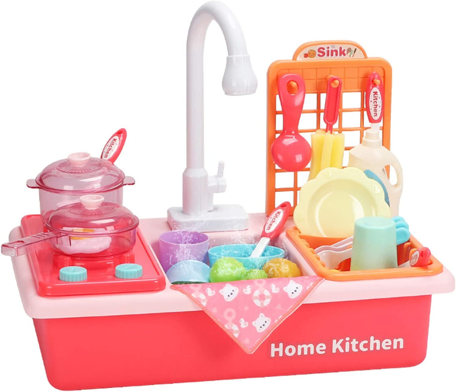 GDOOL Pretend Play Kitchen Sink Toys , Pot and Pan with Spray Realistic Light and Sound, Dish Rack & Play Food, Utensils Tableware Accessories for Toddlers Kids (Pink)