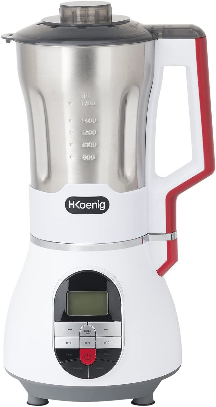 H.Koenig Sopera Eléctrica y Licuadora, Máquina para hacer Sopas, Batidos, o Salsas, 1.7 Litros, 900 W, 7 Velocidades, 3 Temperaturas, Acero Inoxidable, MXC36, Blanco, Rojo y Negro