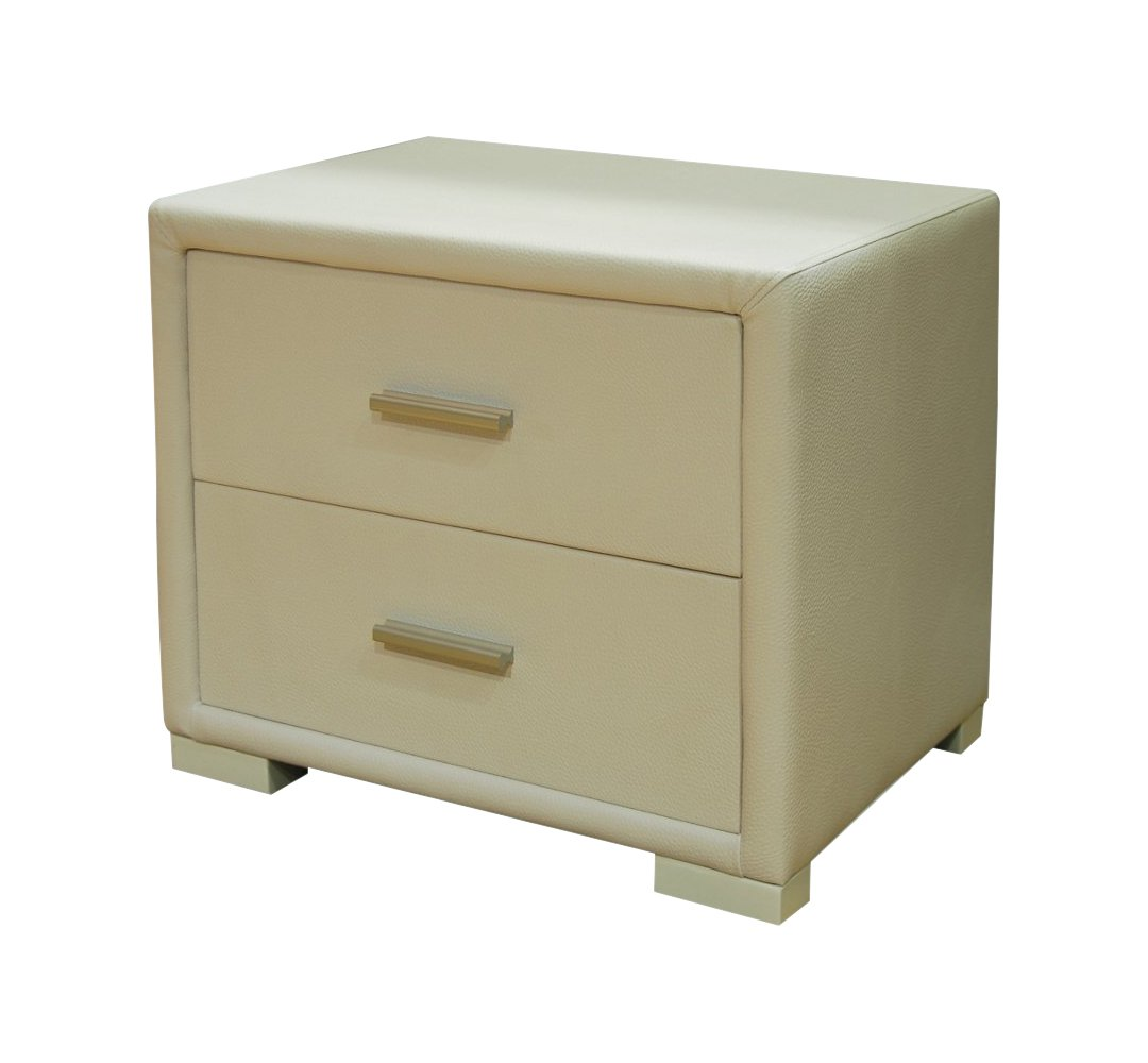 Greatime Bedroom Vinyl Covered Nightstand, Two Drawers, White