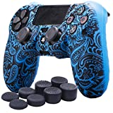 YoRHa Water Transfer Printing Flowers Silicone Cover Skin Case for Sony PS4/slim/Pro Dualshock 4 controller x 1(Blue) With Pro thumb grips x 8
