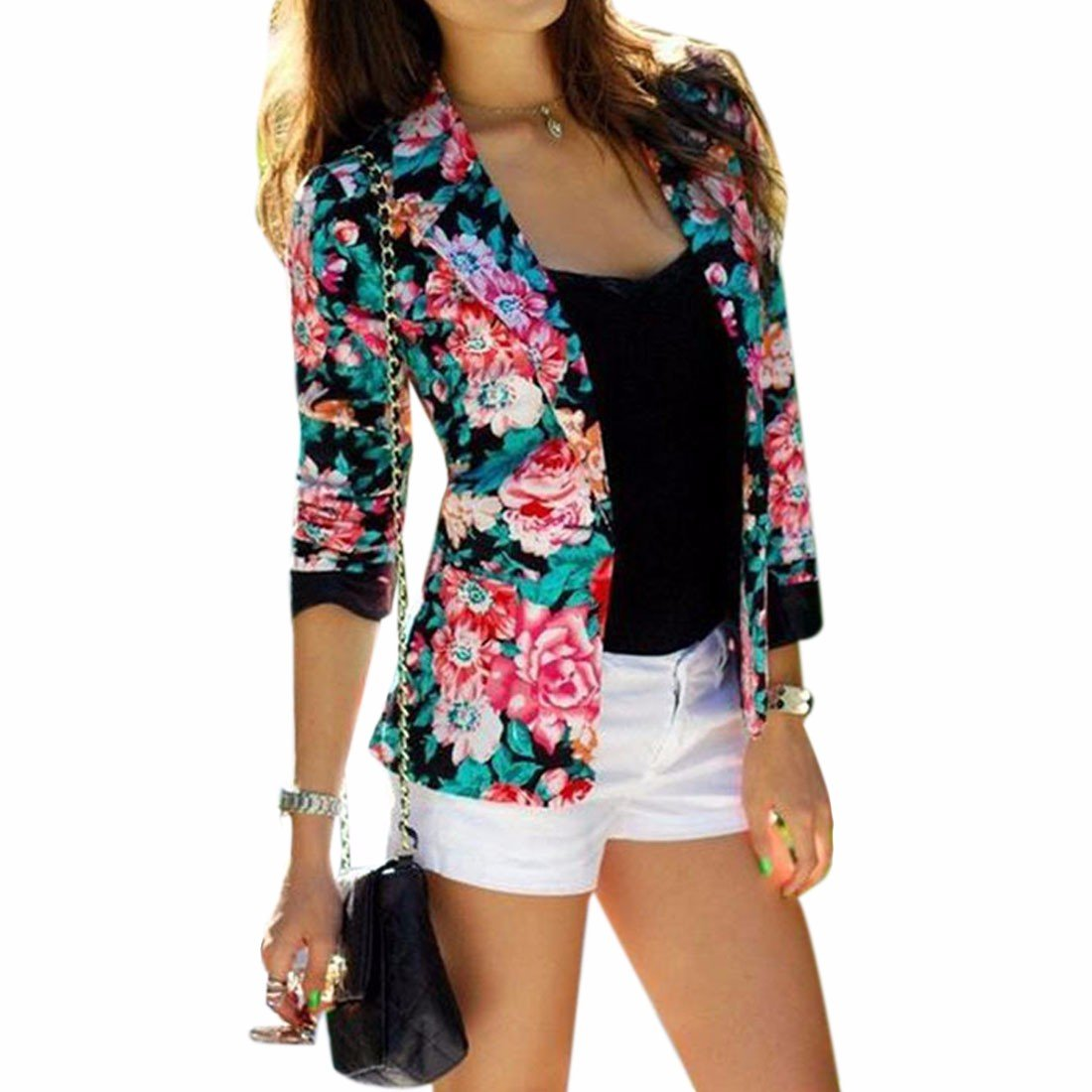 Fashion flower printed flower pattern short suit jacket long sleeve overcoat 1001C1716