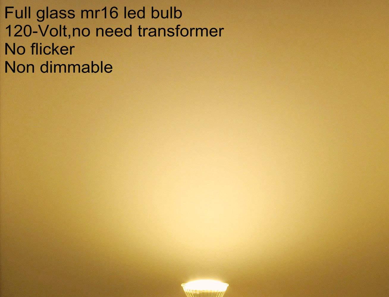 Full Glass 120V MR16 LED Warm White 4W Spotlight Bulb GU5.3 LED Flood Light 2700K Soft White CRI80,130-Degree Wide Beam Angle 35W-50W Halogen Equivalent