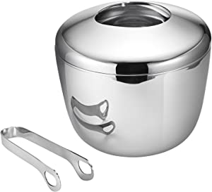 Georg Jensen Sky Stainless Steel Ice Bucket with Tong, 5.91 inches Height x 6.69 inches Width, Stianless Steel, Perfect for Parties, Barware