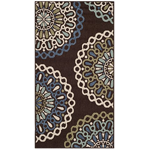 Safavieh Veranda Collection VER092-0625 Indoor/Outdoor Chocolate and Blue Contemporary Area Rug (2'7