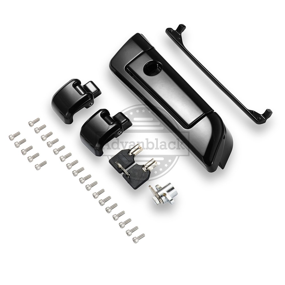 Advanblack Black Tour Pack Latch Hinges & Latch kit for 2014+ Harley Razor/Chopped/ King Tour Pak Pack Travel Trunk Moto Onfire