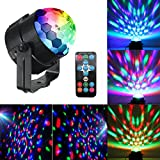 #4: Mini Dj Disco Ball Party Stage Lights Sbolight Led 7Colors Effect Projector Karaoke Equipment for Stage Lighting With Remote Control Sound Activated for Dancing Christmas Gift KTV Bar Concert Birthday