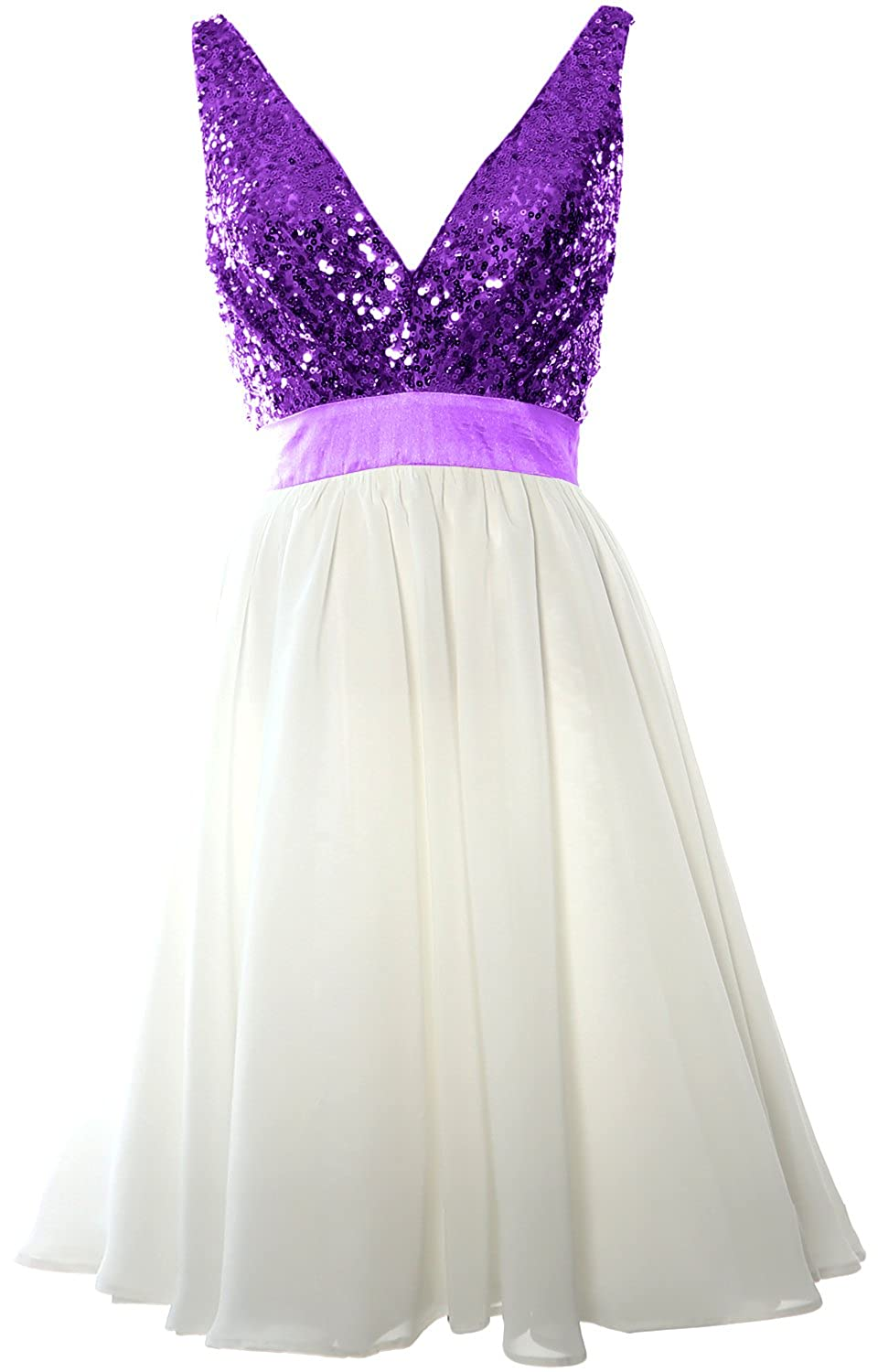 MACloth Women V Neck Sequin Cocktail Dress Vintage Short Formal Prom Party Gown