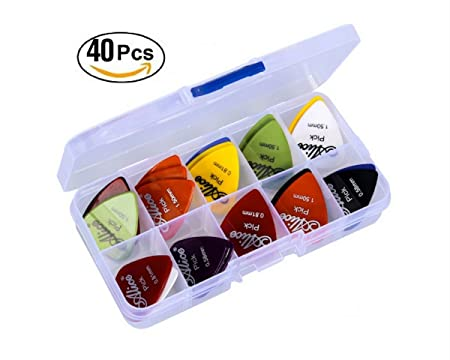 Astropick - Boîte de 40 médiators pour guitare électrique, acoustique, basse, ou folk - 6 épaisseurs : 0.58/0.71/0.81/0.96/1.20 et 1.50 (mm) - Pour homme et femme - pic, onglet , pick , plectre