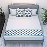 The Intellect Bazaar Chenille Printed Bed Runner with 2 Cushion Covers,Blue