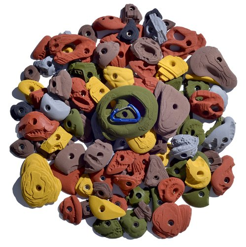 Atomik Climbing Holds Bolt On 100 Pack Rock-Like - Includes Jugs, Pinches and Crimps - Foot and Hand Rock Climbing Holds