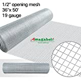 Kyпить 36inx50ft 1/2 in 19gauge Hardware Cloth Galvanized Welded Cage Wire Mesh Rolls Square Chicken Wire Netting Raised Garden Beds Rabbit Fence Snake Fencing Rodent Animals Weasel Gopher Moles Raccoons на Amazon.com