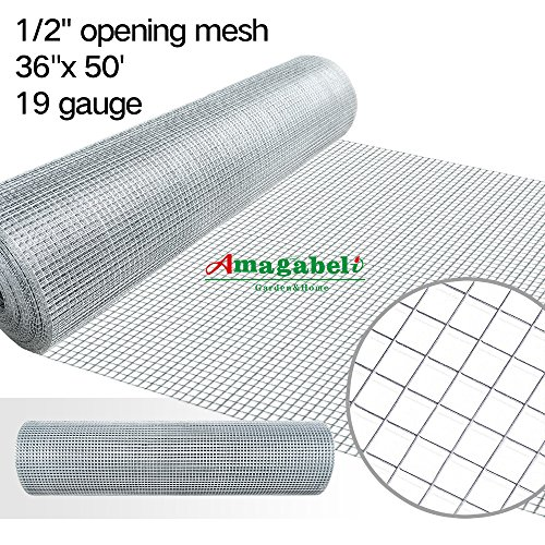 36inx50ft 1/2 in 19gauge Hardware Cloth Galvanized Welded Cage Wire Mesh Rolls Square Chicken Wire Netting Raised Garden Beds Rabbit Fence Snake Fencing Rodent Animals Weasel Gopher Moles Raccoons (Wire Mesh Welded)