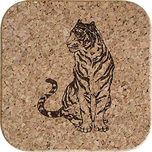 Azeeda 4 x Tigre Dessous de Verre li/ège carr/é de 10cm CR00153379
