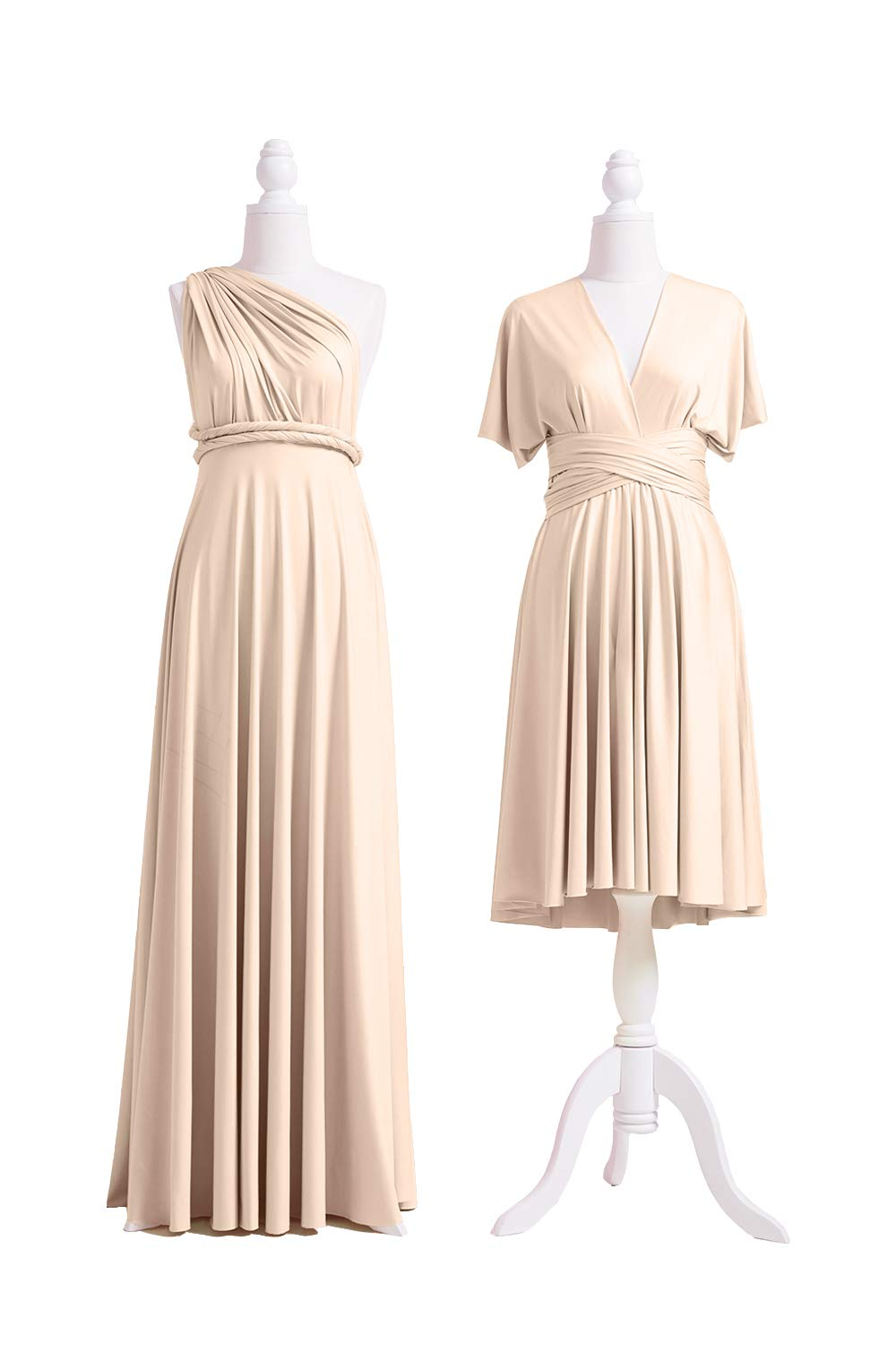 72STYLES Champagne Infinity Dress with Bandeau, Convertible Dress,  Bridesmaid Dress, Long,Short, Plus Size, Multi-Way Dress, Twist Wrap Dress