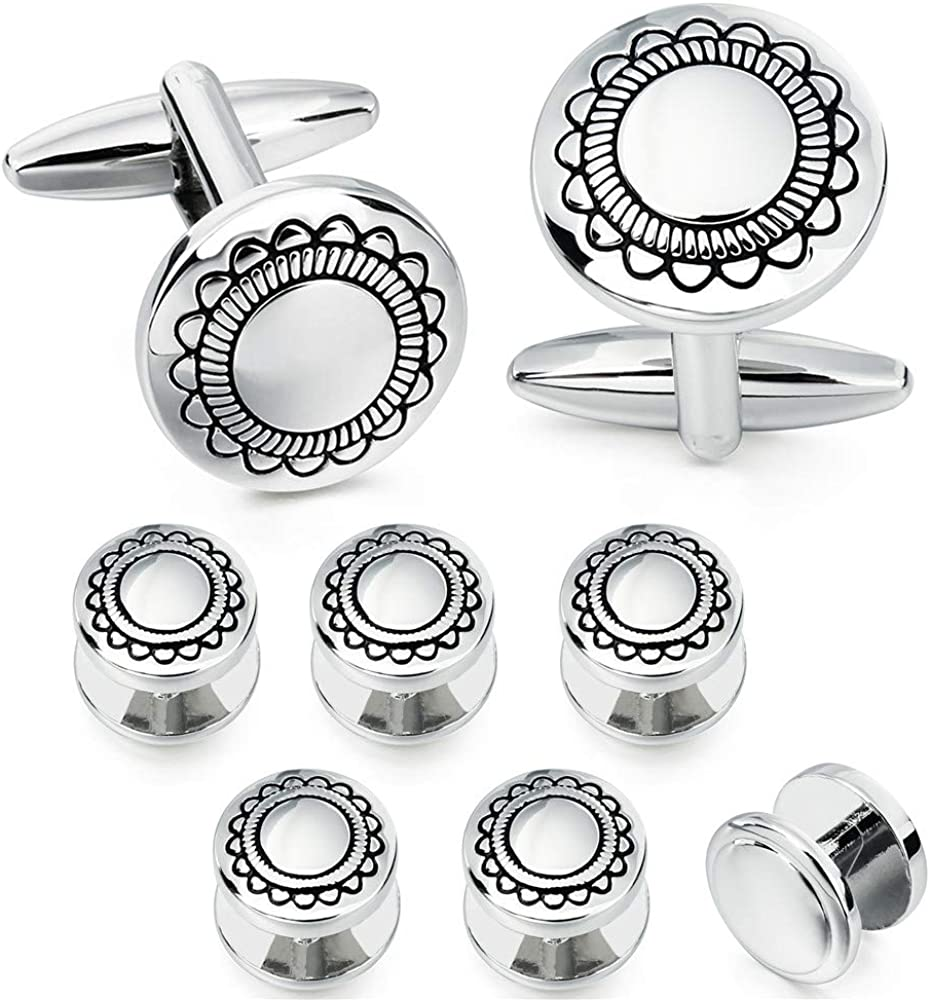 HAWSON Cufflinks and Studs for Men-Flower Pattern Men Fashion Tuxedo Shirt Silver Cufflinks and Studs Set for Regular Weeding Business Accessories