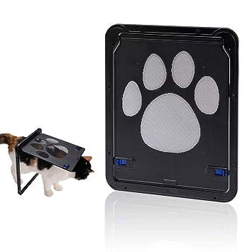 Hyindoor Puerta para Perros y Gatos Puerta Mosquitera para Mascotas Gatera de Gatos con Cerradura Automática Puerta Magnética con Malla para Perros ...