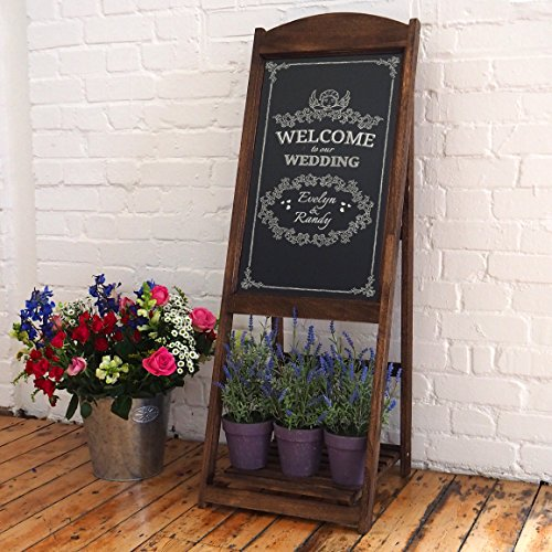 Chalkboard Sandwich Board Easel in Vintage Rustic Style Compatible with Liquid Chalk Markers (Brown)