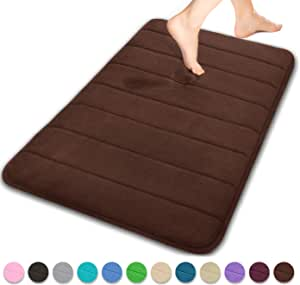 Yimobra Memory Foam Bath Mat Large Size 80 x 50 cm, Soft and Comfortable, Maximum Absorbent, Non-Slip, Thick, Machine Wash, Easier to Dry Bathroom Floor Rug, Brown