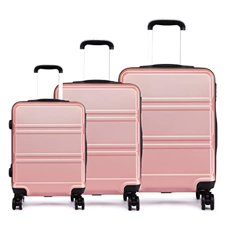 fa3e3c6f04cc Kono 3pcs Luggage Set 4 Wheels Spinner Trolley Suitcase Lightweight ABS  Luggage 20
