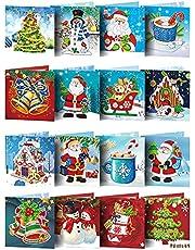 BMTLFG 5D DIY diamant kerstkaart, 16 stuks diamant schilderij kerstkaarten set, DIY diamant schilderij kerstkaarten vakantie wenskaarten kits glitter handwerk wenskaart
