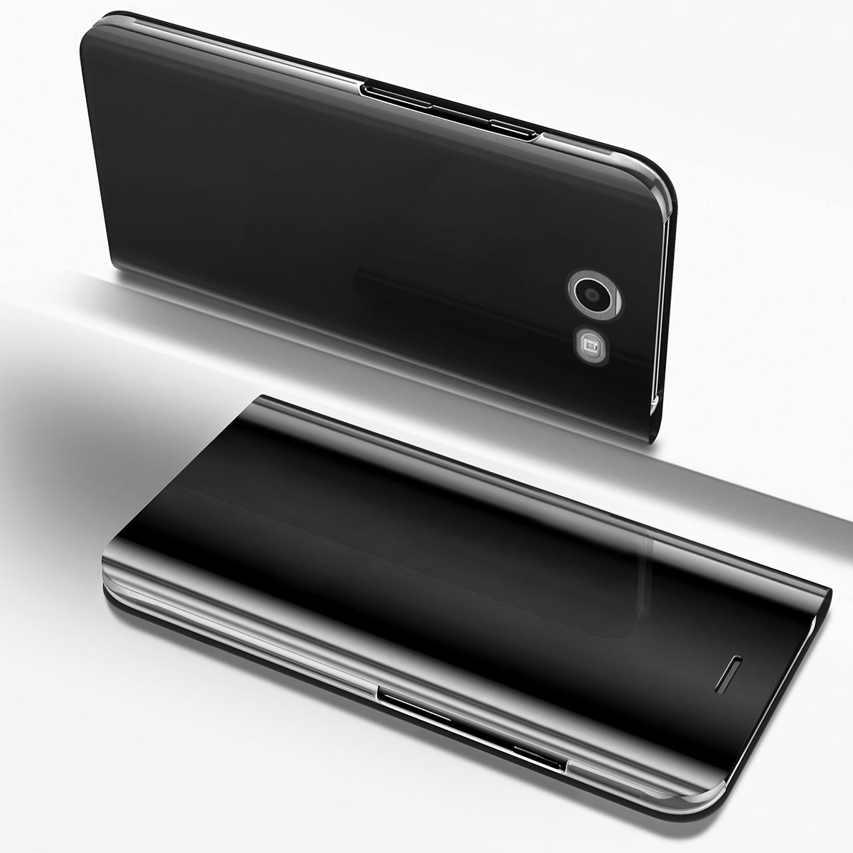PHEZEN For Samsung Galaxy J3 Emerge/J3 Prime/J3 Mission/J3 Eclipse/J3 2017/J3 Luna Pro/Sol 2/Amp Prime 2/Express Prime 2 Case, Luxury Mirror Makeup Case PU Leather Flip Folio Wallet Case (Black)