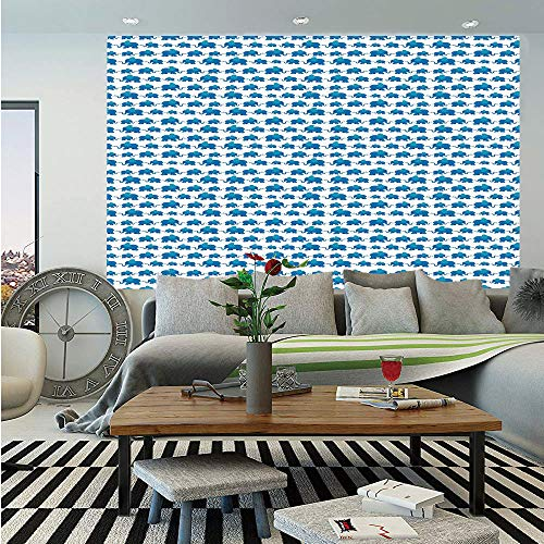 SoSung Elephant Wall Mural,Children Kids Pattern Nursery Theme Blue Color Adorable Animals Horizontal Pattern,Self-Adhesive Large Wallpaper for Home Decor 55x78 inches,Blue White