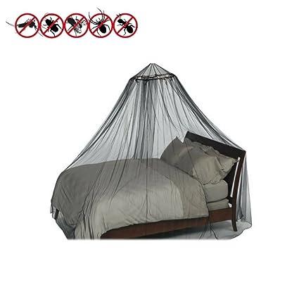 Negro Mosquitera cama con dosel de doble y cama individual con bolsa de viaje con cordón