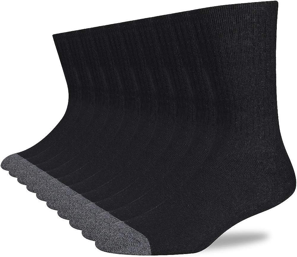 COOVAN Mens Cushion Crew Socks Men 10 Pack Cotton Athletic Socks Moisture Wicking Work Sock