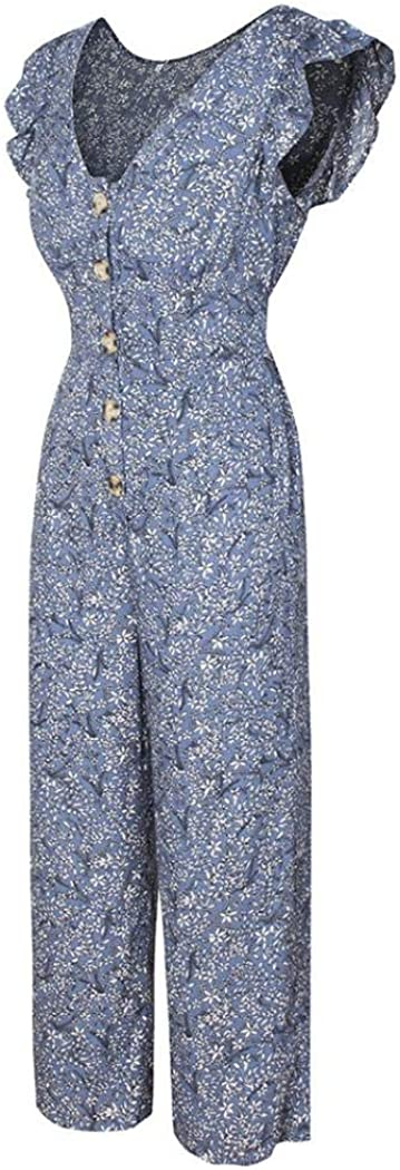 Floral Jumpsuit for Women Sleeveless V-Neck High Waist Floral Printed Chiffon Harem Jumpsuit for Women