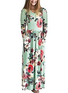 b57b0a1e69 ZESICA Girl s Summer Short Sleeve Floral Printed Empire Waist Long Maxi  Dress with Pockets