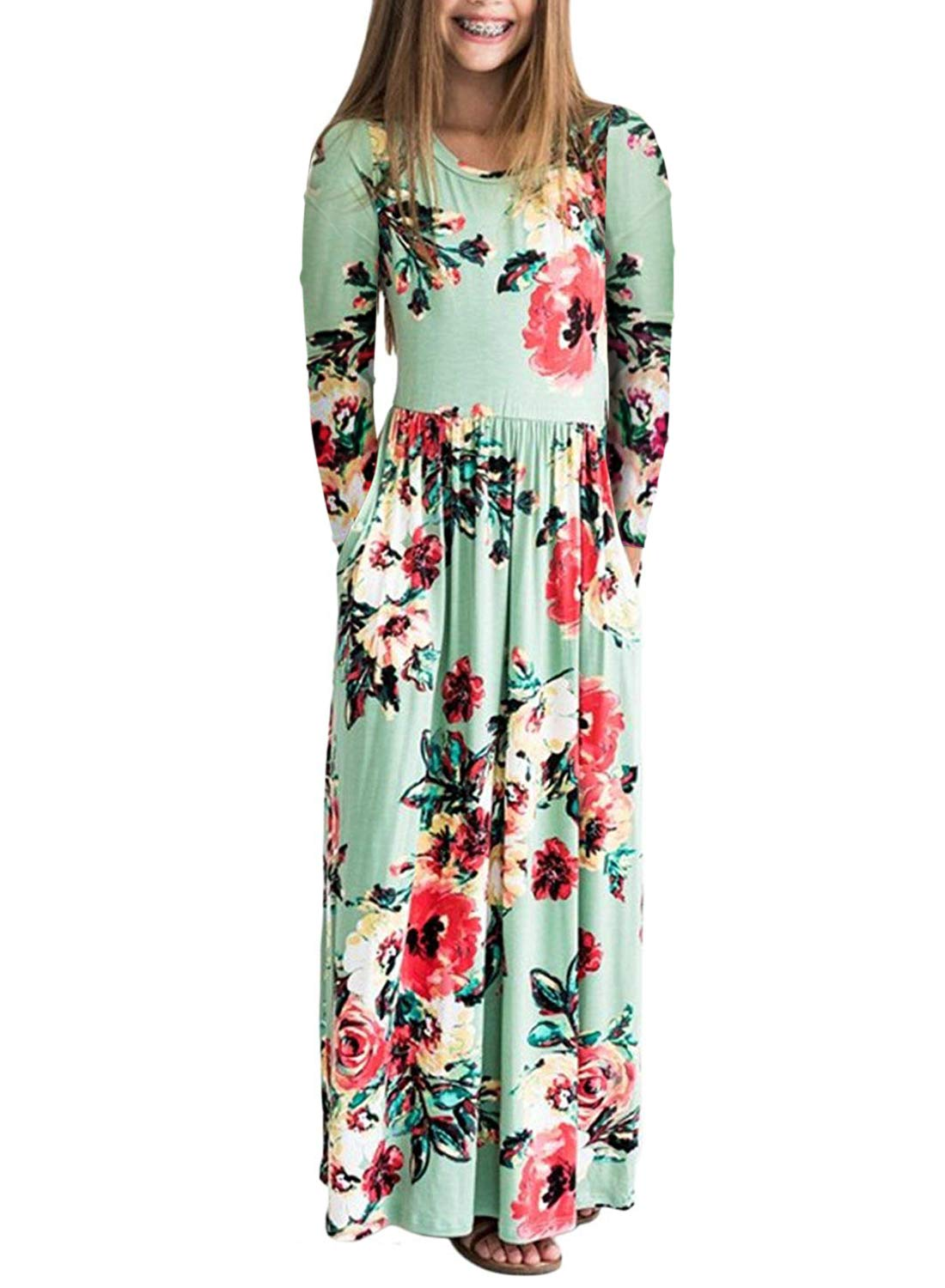 ZESICA Girl's Summer Short Sleeve Floral Printed Empire Waist Long Maxi Dress with Pockets ZEDec20