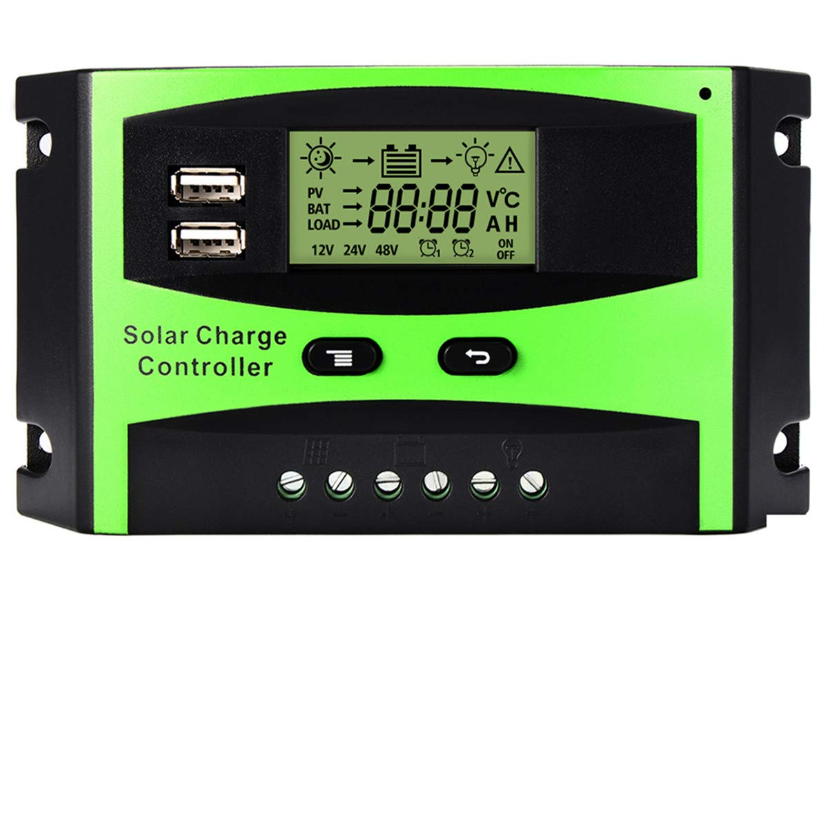 MOHOO 30A Solar Charge Controller Solar Panel Battery Intelligent Regulator with Dual USB Port PWM LCD Display 12V/24V