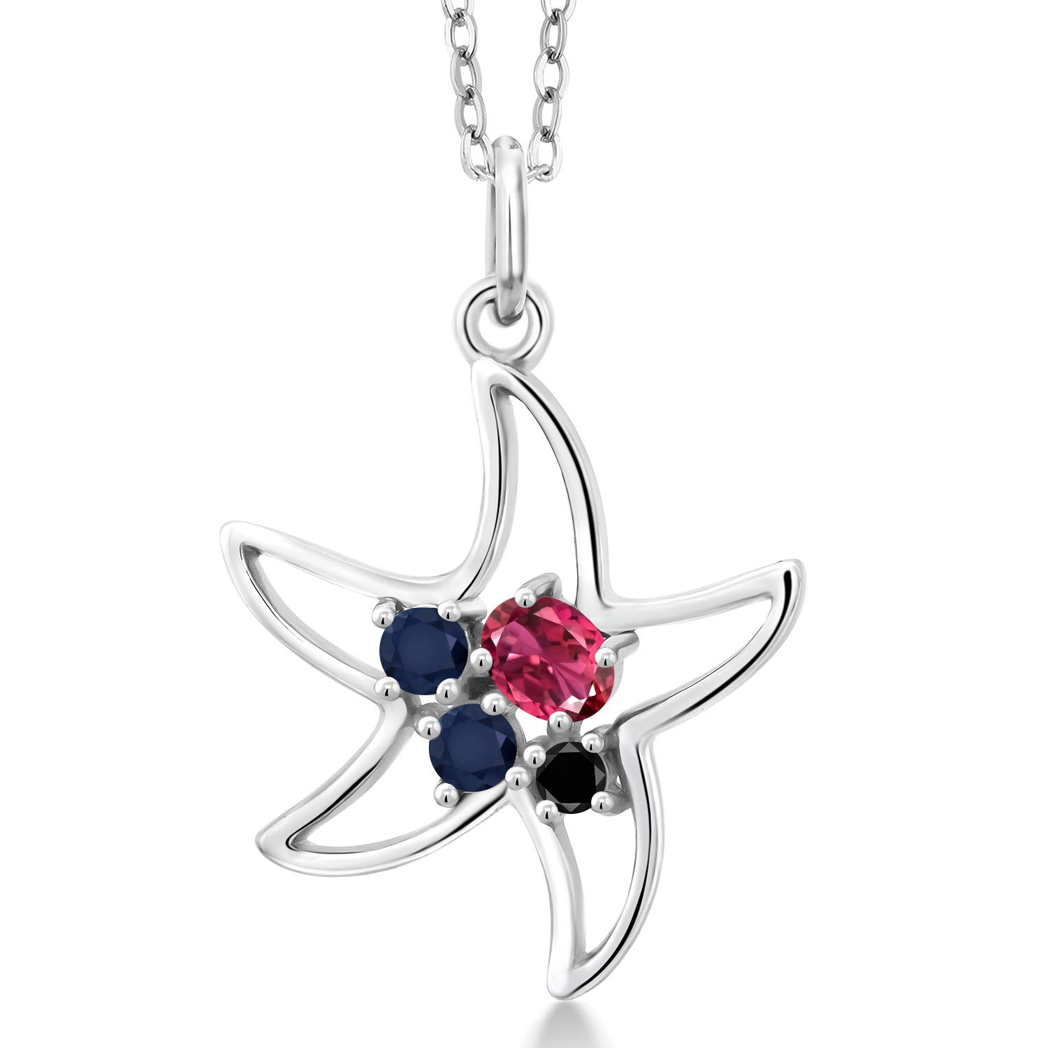 Gem Stone King 0.28 Ct Oval Pink Tourmaline Blue Sapphire 925 Sterling Silver Starfish Necklace