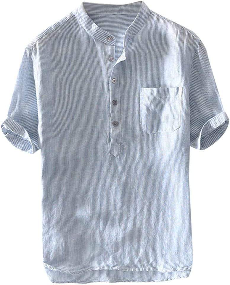 ღLILICATღ Camisa Algodón Y Lino Hombre Casual 2019 Nuevo Camisetas Hombre Manga Larga Color Sólido Cuello en V Botón Bolsillo Verano Blusa Tops Tallas Grandes
