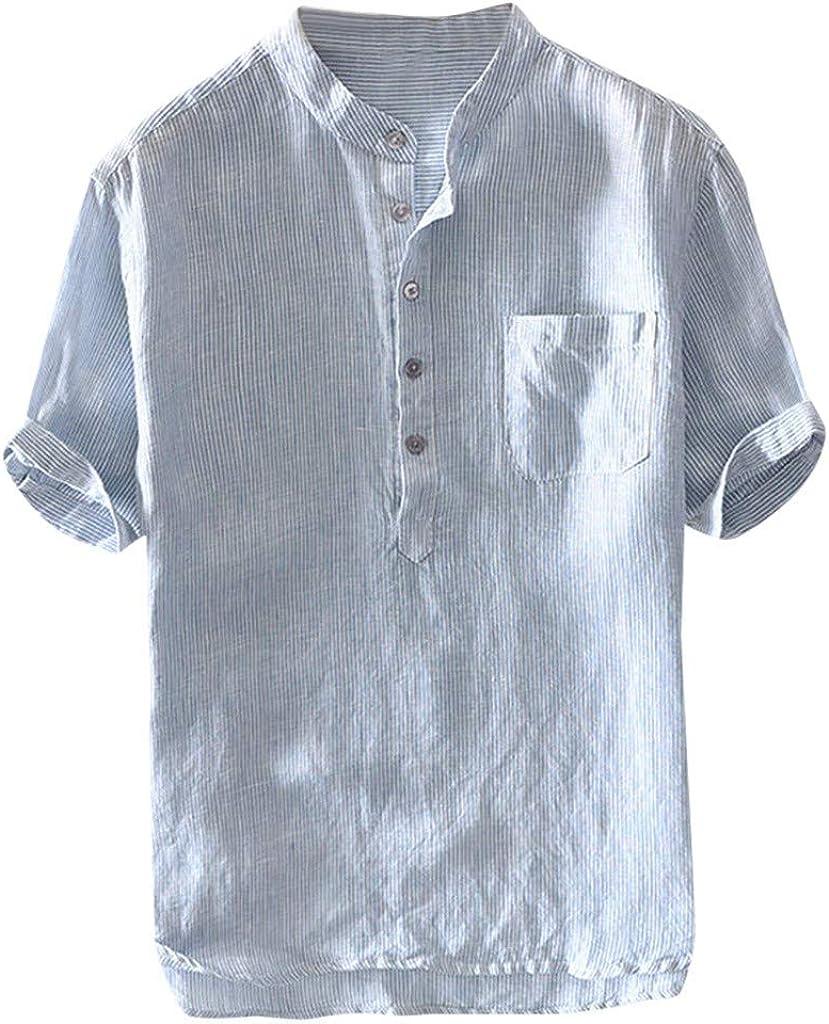TUDUZ Camisetas Hombre Manga Corta Camisas de Algodón y Lino a Rayas Botón con Bolsillo Superior Top Ropa de Cuello V